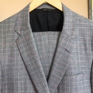 H . Freeman Wool Suit Glen Plaid Hand Tailored 42R
